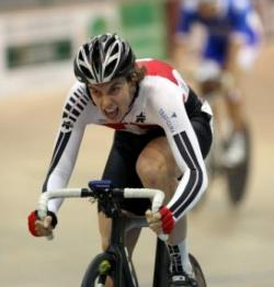Cyrille Thiery from Switzerland pushes hard in the National Madison Champs