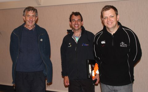Tony and Julian Ineson with Nick Jeffrey after the New Year Criterium at Ascot Park Hotel