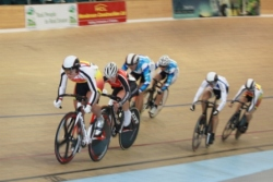 Natasha Hansen heads to the line to win the Womens Keirin