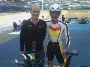 Tim Carswell with Uncle Bruce after Jones set a new National mark in Master Cat 3 IP Qualifying