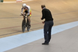 Tim Carswell calls laps for Uncle Bruce Jones at the 2011 National Champs