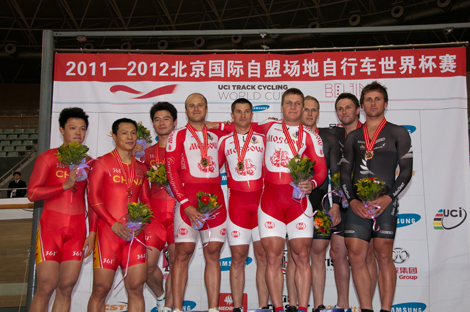 Matt Eddie and Simon on the podium in Beijing