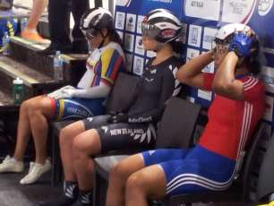 Tarsh Hansen getting in the zone before the Womens keirin