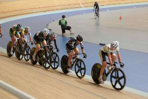 Sequoia Cooper in the Womens Omnium Poins race