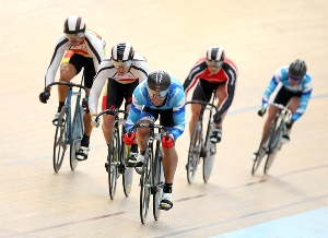 Simon van Velthooven in the Men's Keirin - photo by Dianne Manson