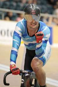 Simon van Velthooven celebrates winning the Mens Keirin - Photo by James Jubb