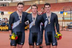 Team Sprint Medals - Photo by Guy Swarbrick-BikeNZ