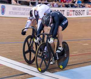 Sam Webster beats Stefan Botticher in the Mens Sprint - photo by Guy Swarbrick-BikeNZ